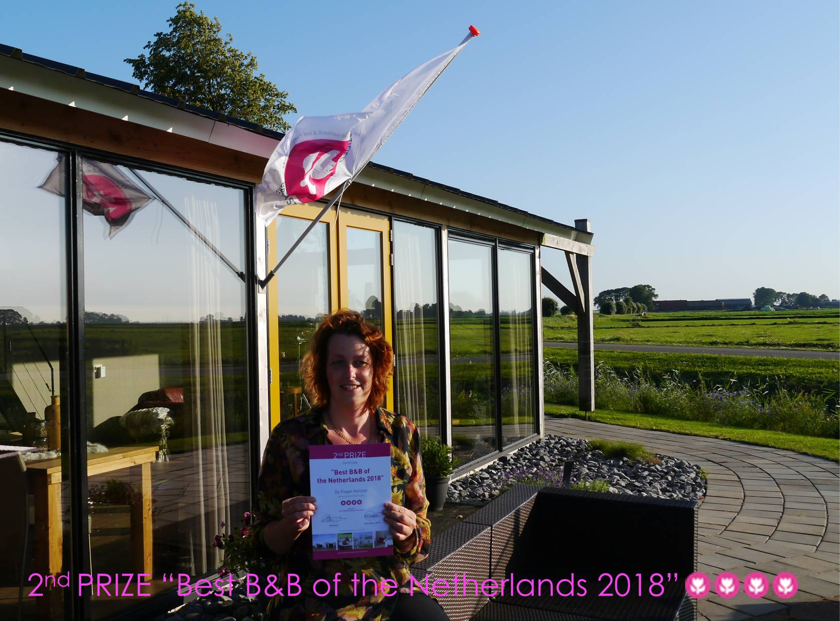 Second Price of best B&B of te Netherlands 2018, 2019 en 2020